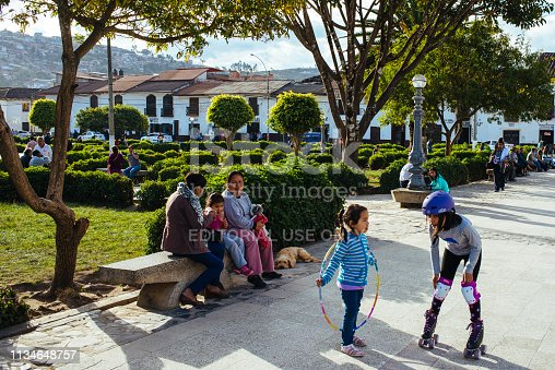 Chachapoyas, amazon, peru - July 13, 2017: Kids are playing on the main square in Chachapoyas