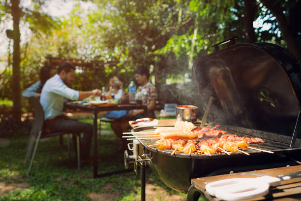 Afternoon Party, barbecue and roast pork stock photo