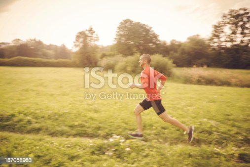Panning photo (with motion blur) of athlete running across a field on a sunny afternoon.