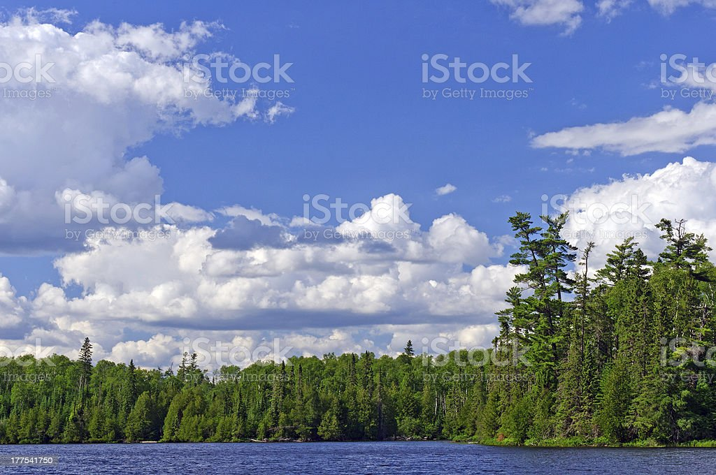 Afternoon storm clouds building in Canoe Country stock photo