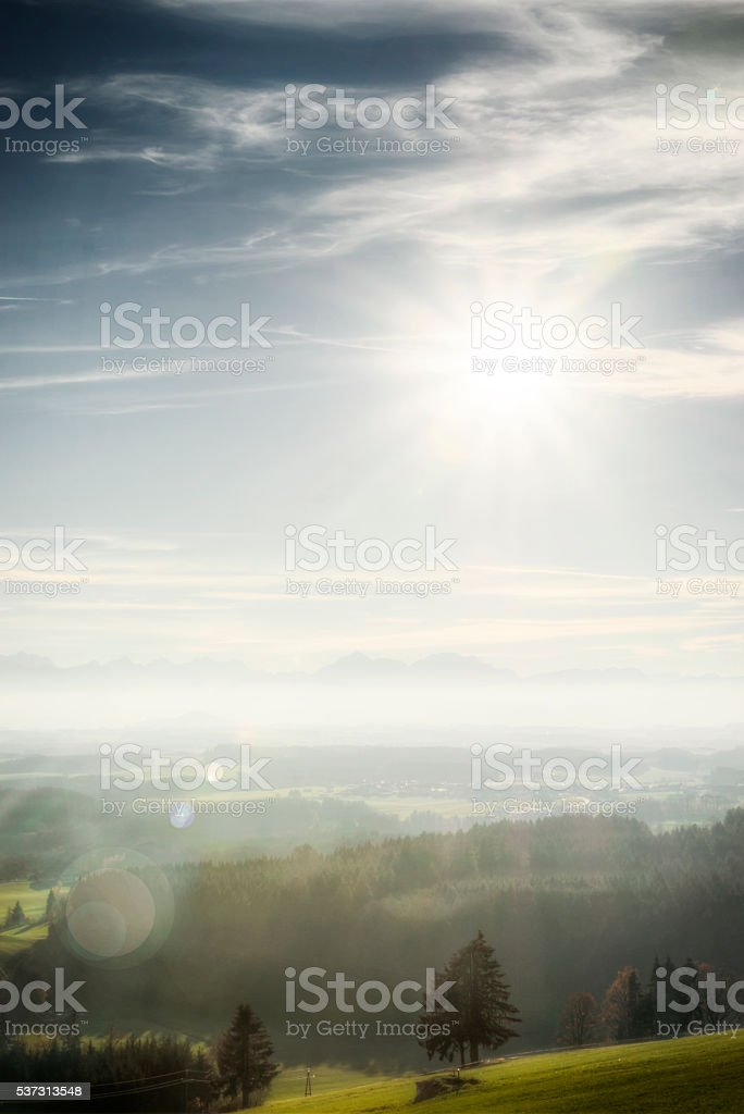 Afternoon Sun Shining Brightly Over Austria stock photo
