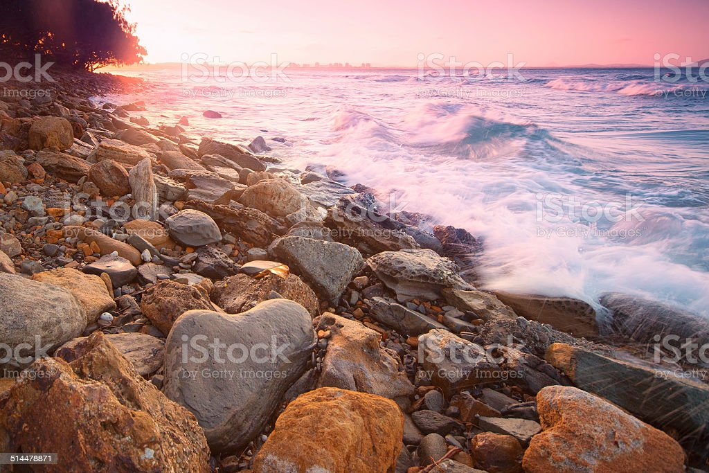 Afternoon sunset at the beach. stock photo