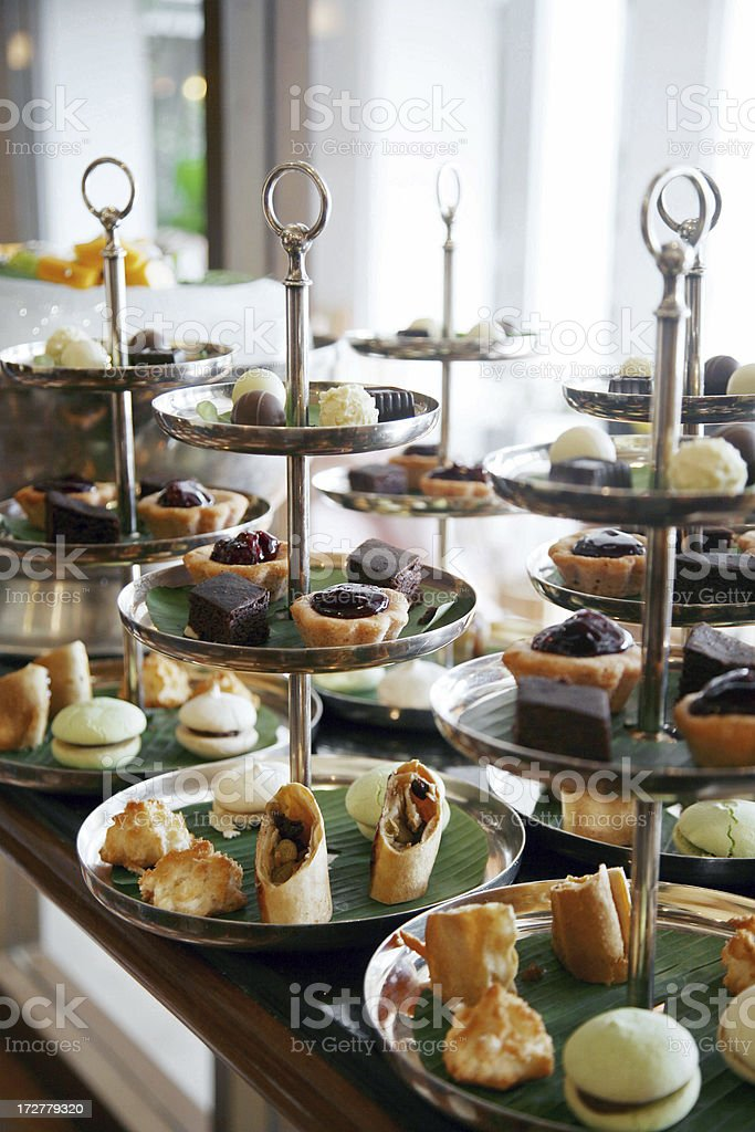 Afternoon Tea and Assorted Cakes royalty-free stock photo