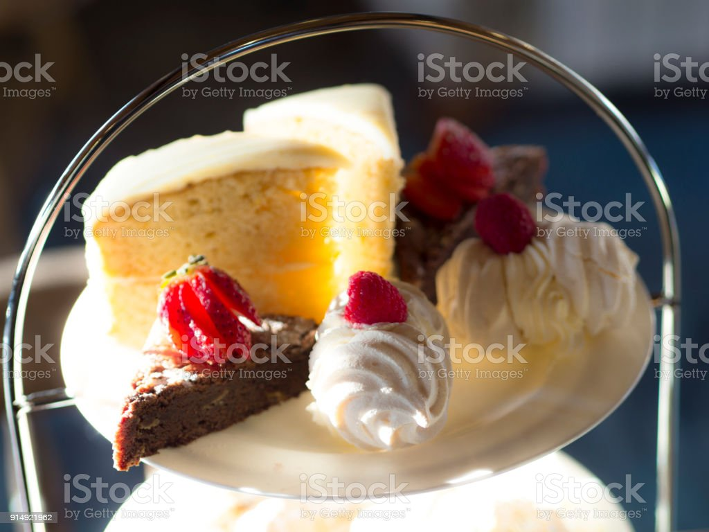 Afternoon Tea Close up of cake, merengue and brownie stock photo