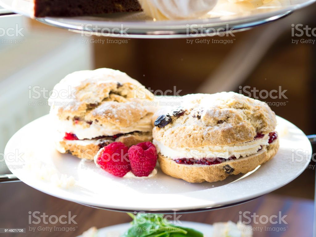 Afternoon Tea, close up of scones with cream and jame stock photo