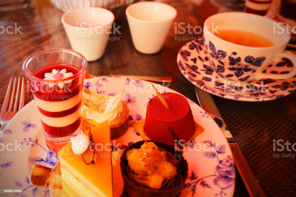 Afternoon Tea Desserts at a Luxury Hotel in London stock photo
