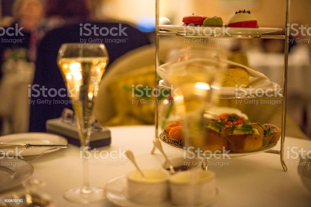 Afternoon tea in a luxurious hotel at Christmas. stock photo