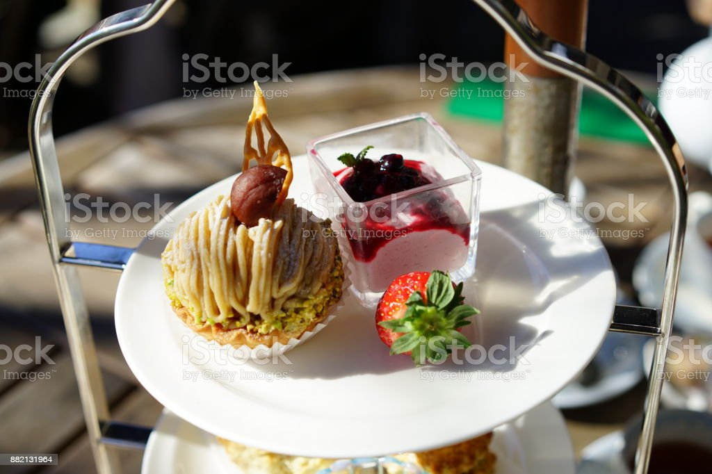 Afternoon tea in a terrace seat stock photo