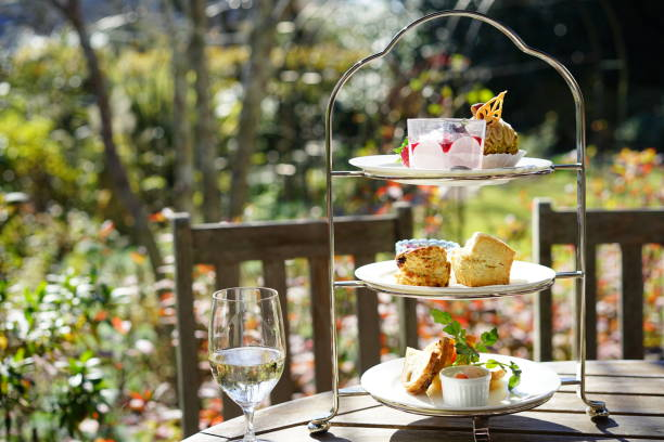 Afternoon tea in terrace seat stock photo