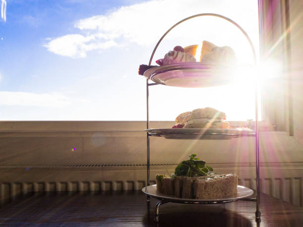 Afternoon Tea isolated with sun in the background stock photo