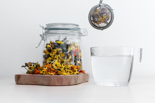 Afternoon Tea of Calendula, Primula Vulgaris and Dandelion Dried Tea Herbs
