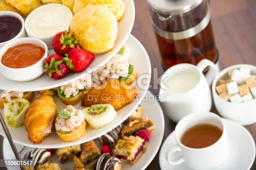 Complete afternoon tea with scones, devonshire cream,preserves, gourmet minature sandwiches and assorted pastries plus tea, milk and sugar
