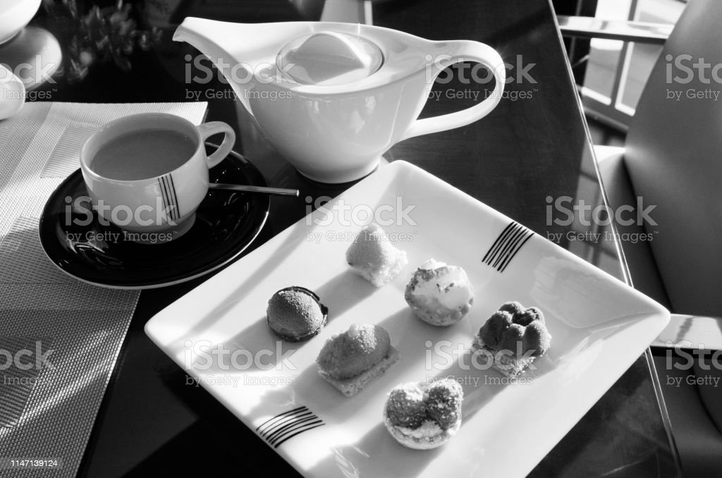 Afternoon Tea Served With Art Deco Style China Captured In Black And White Stock Photo Download Image Now Istock