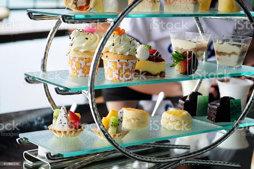 Afternoon tea set of pastries collection圖像檔