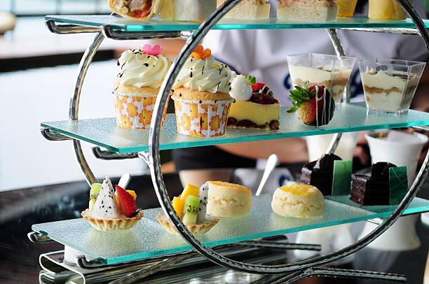 afternoon tea set of pastries collection - eftermiddagste bildbanksfoton och bilder