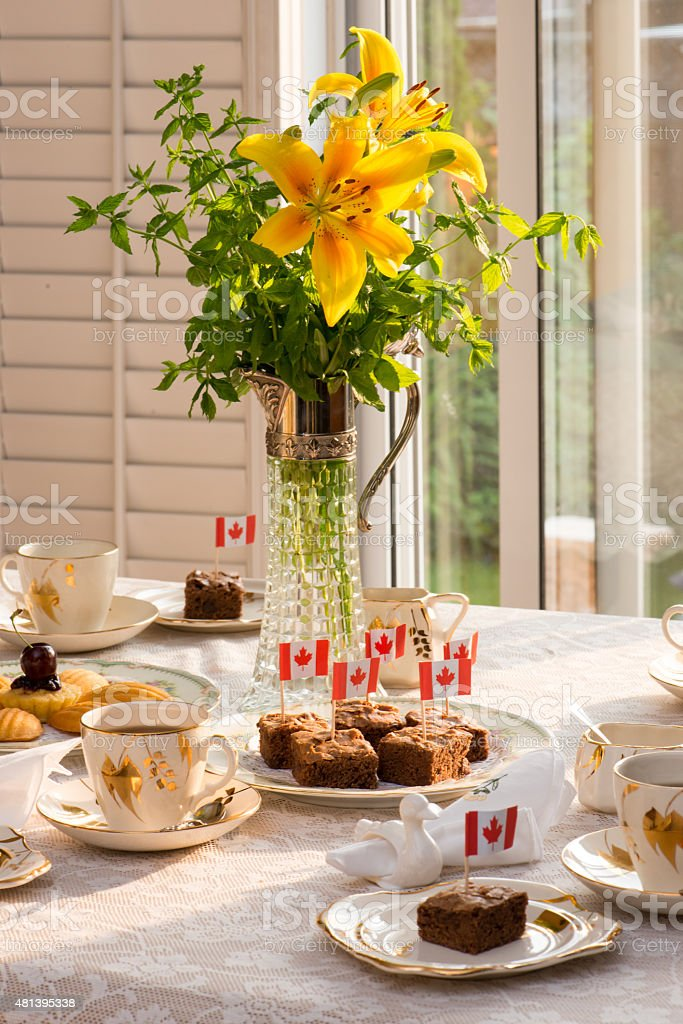 Afternoon tea table. Celebrate Canada Day, Civic Holiday. stock photo