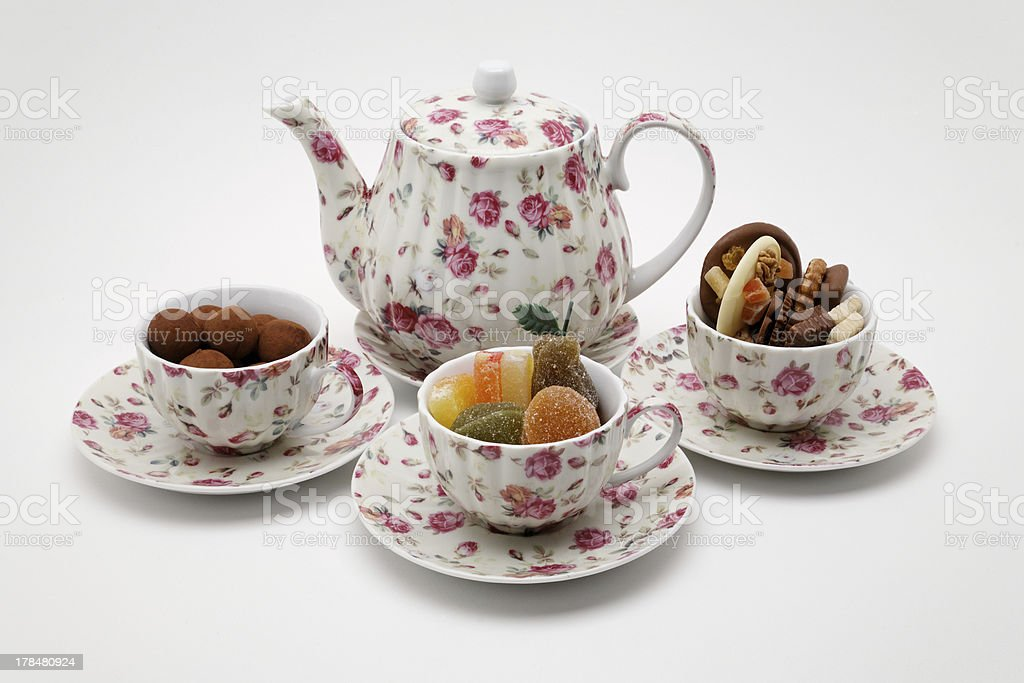 Afternoon tea with candy and chocolates royalty-free stock photo
