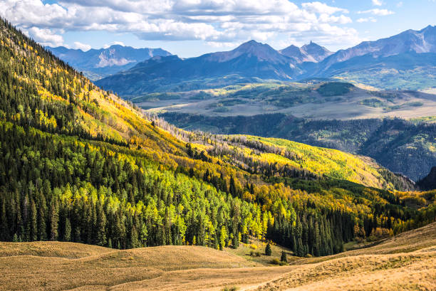 Afternoon view at Last Dollar Pass View looking south on the eastern side of the San Juan Mountains near Telluride, Colorado. san juan mountains stock pictures, royalty-free photos & images