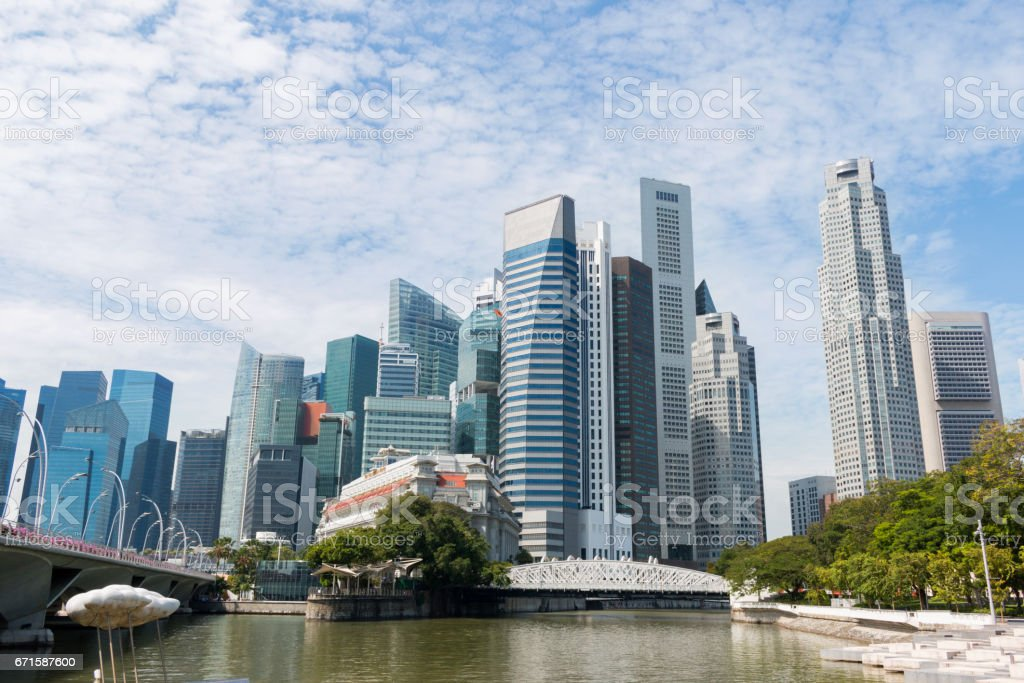Afternoon view skyline or downtown of Marina Bay a beautiful landmark in Singapore. stock photo