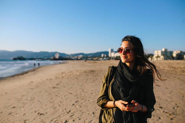 afternoon walk on the Santa Monica beach stock photo