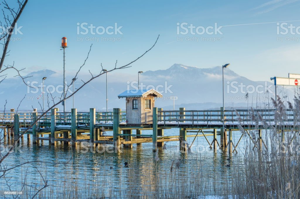 Afternoon winter in he Pier stock photo