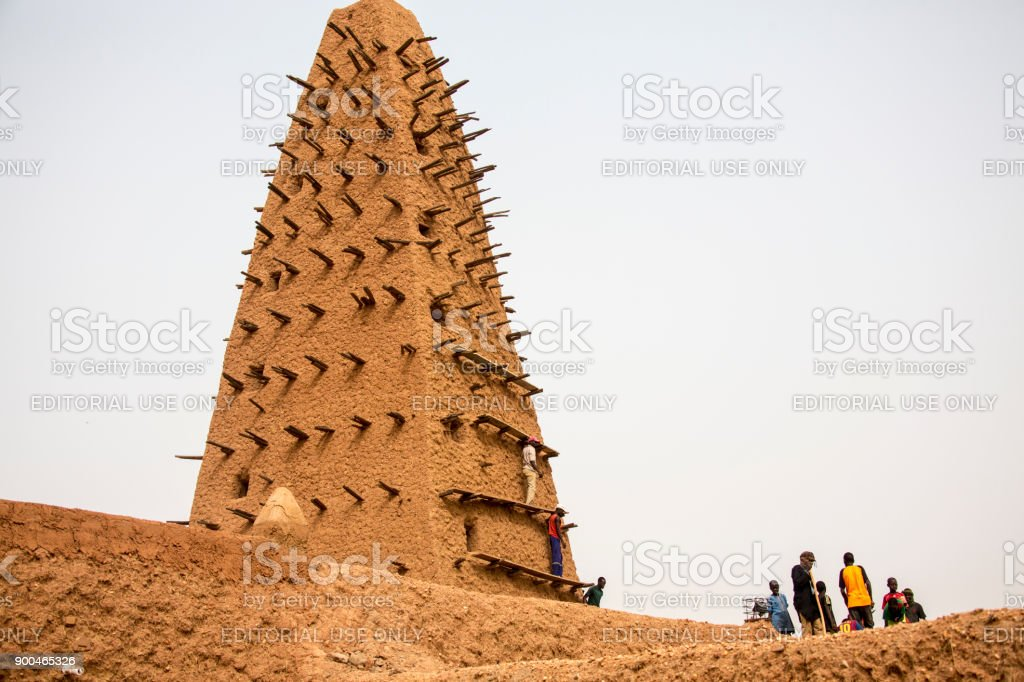 Agadez tower of the mosque stock photo