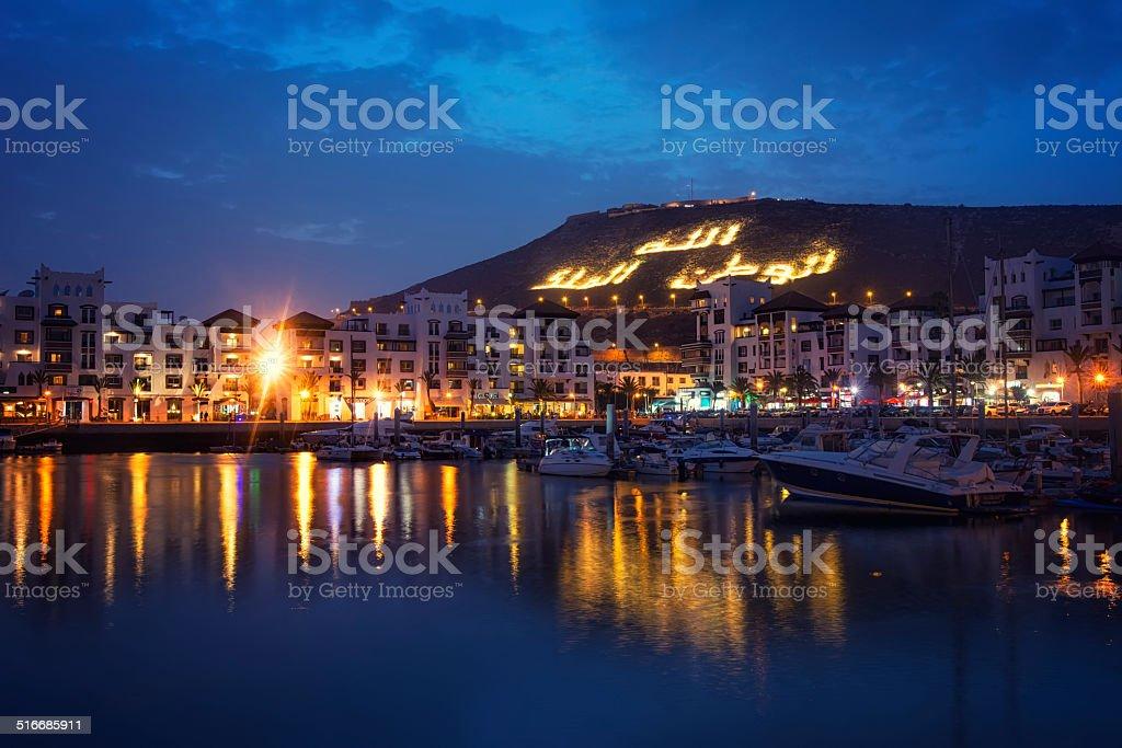 Agadir (Morocco) by night stock photo