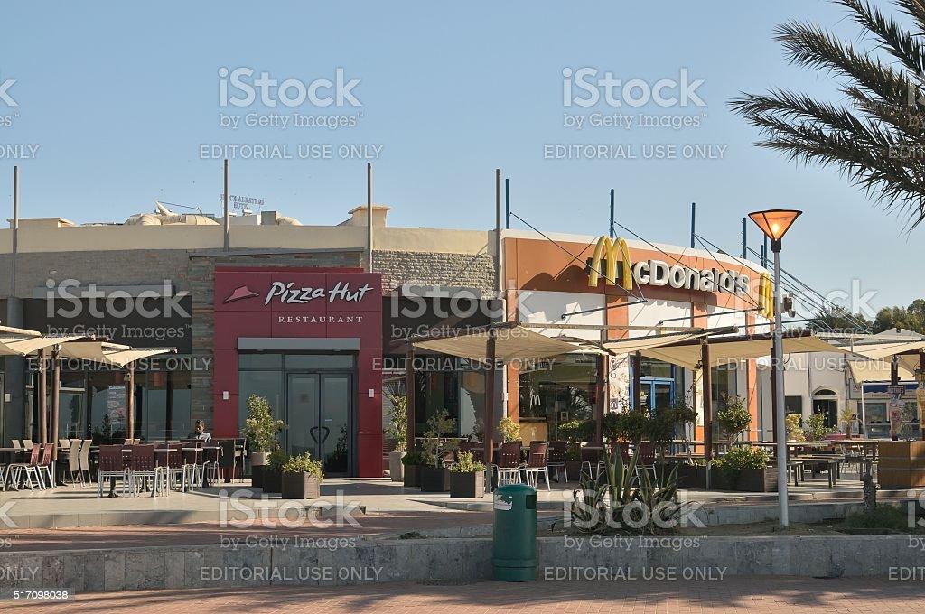 Agadir McDonalds and Pizza Hut Restaurants stock photo
