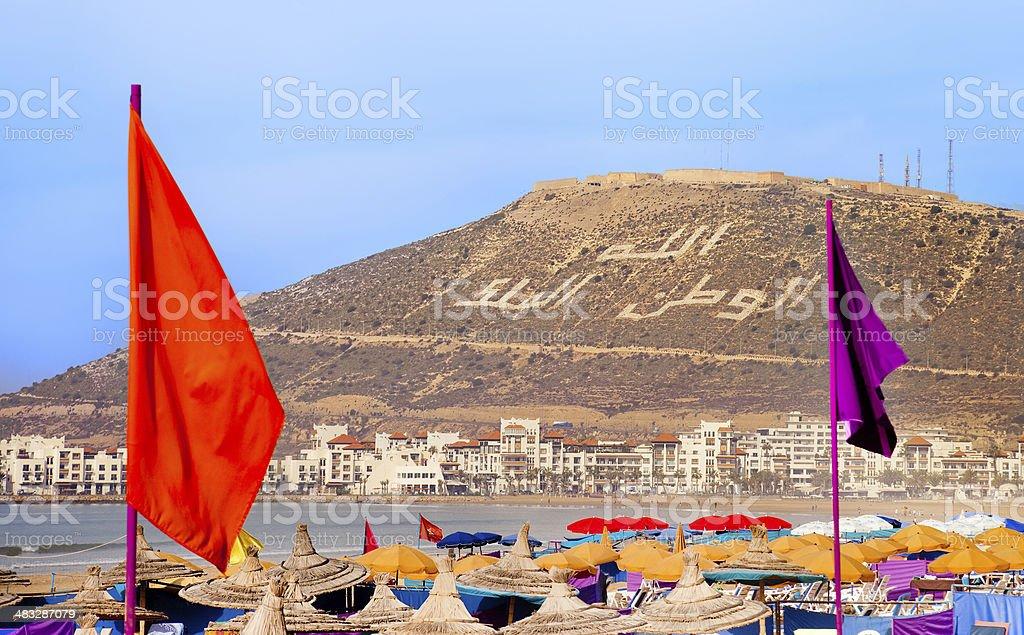 Agadir sand beach, Morocco stock photo