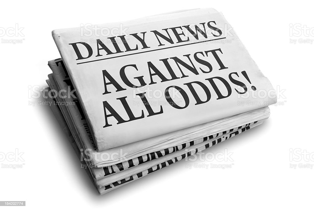 Against all odds daily newspaper headline royalty-free stock photo
