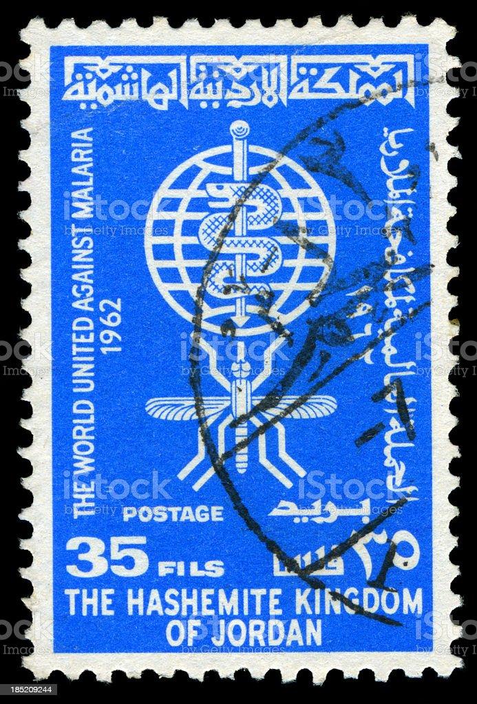 Against Malaria Postage Stamp, jordania royalty-free stock photo