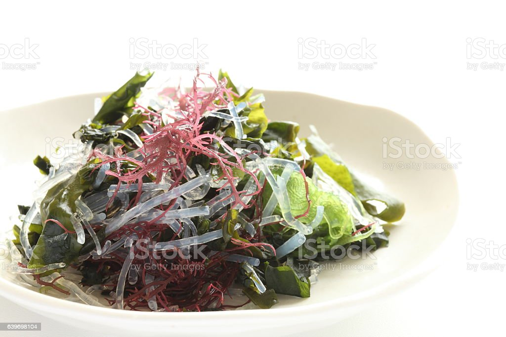 agar and wakame stock photo