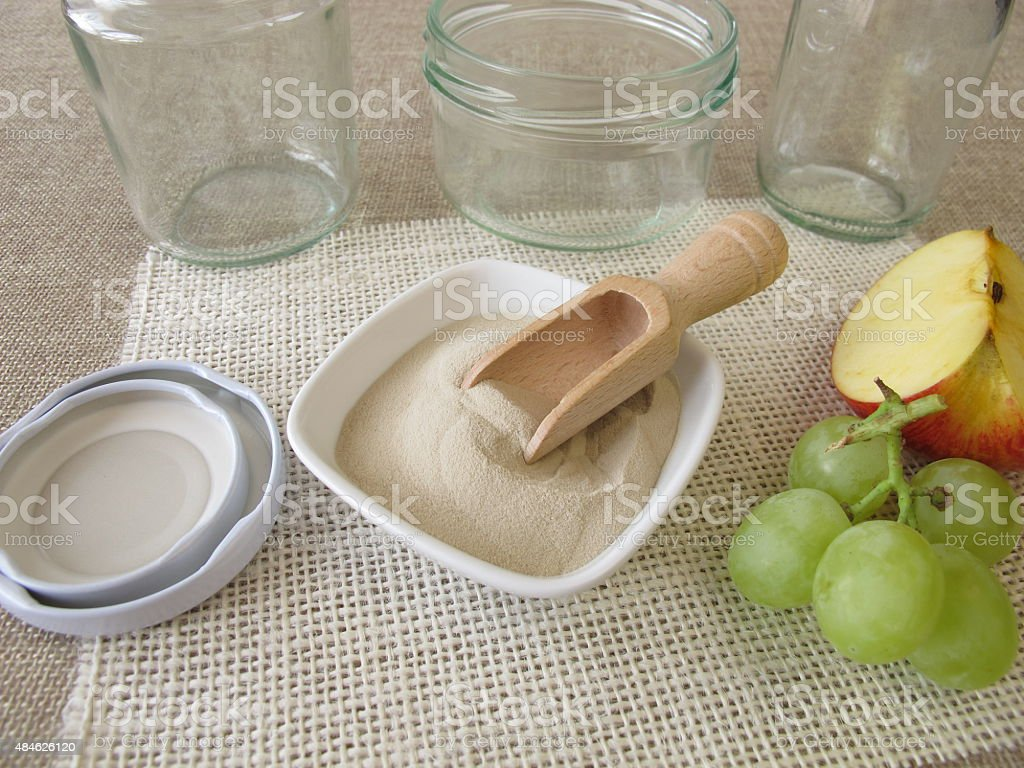 Agar-agar, jars and fruits stock photo
