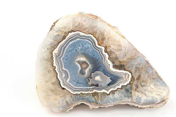 Agate in blue white isolated on white background. stock photo