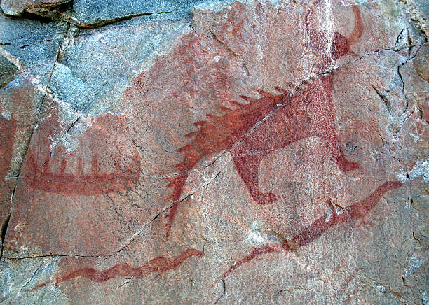 agawa pictographs - canoe and serpents - provincial park stock photos and pictures