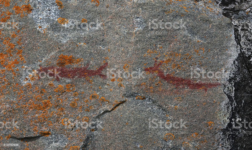 Agawa Rock Creatures stock photo