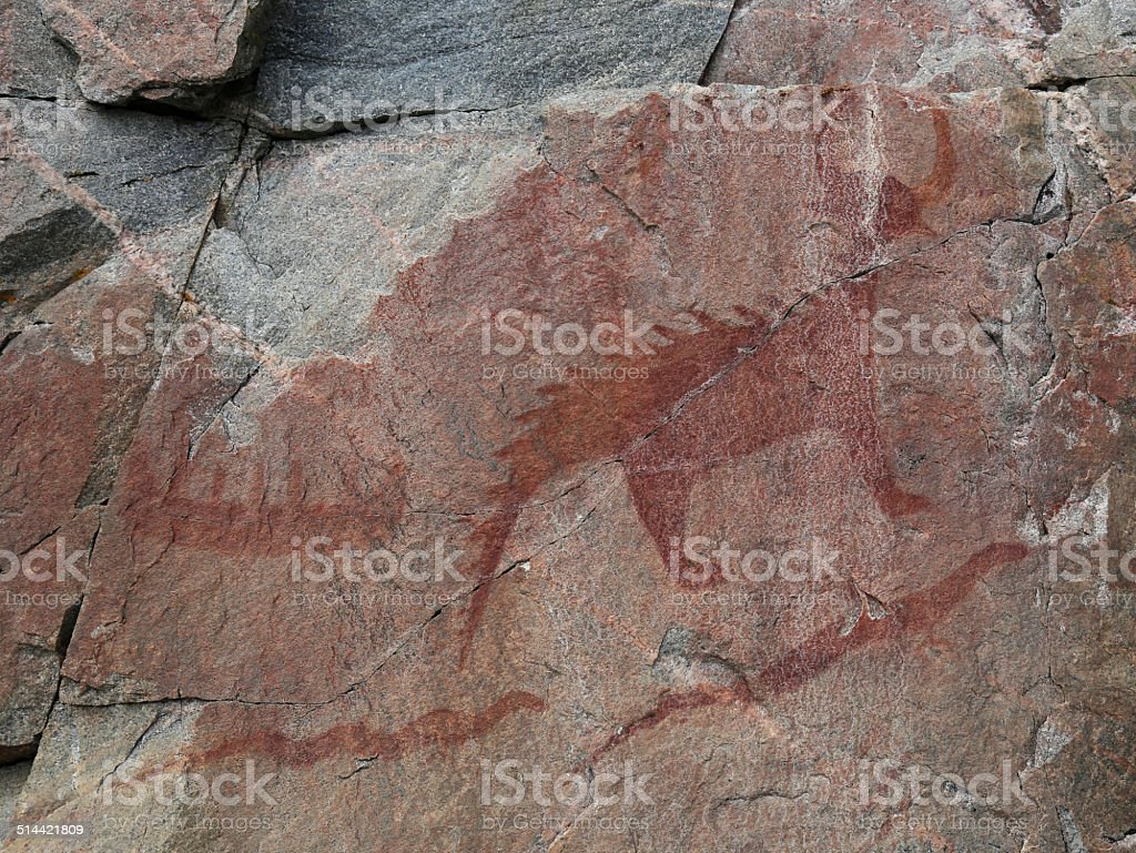 Agawa Rock Great Lynx stock photo