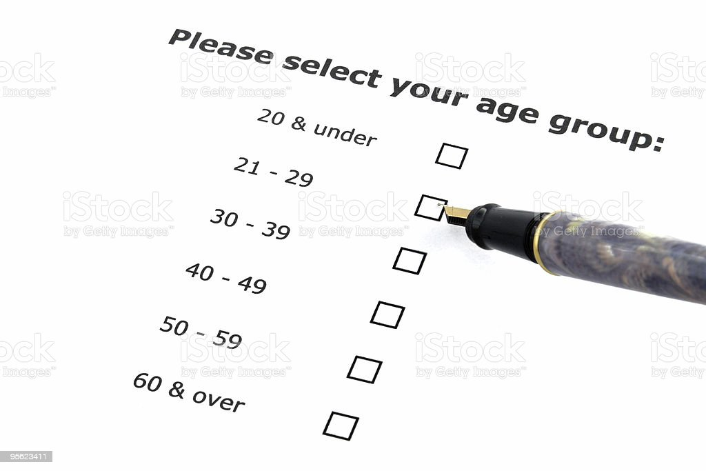 age group selection - questionnaire stock photo