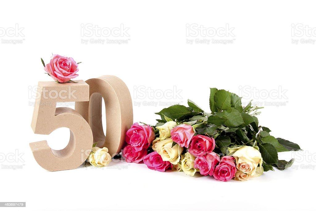 Alter in Zahlen in einem Bett von Rosen – Foto