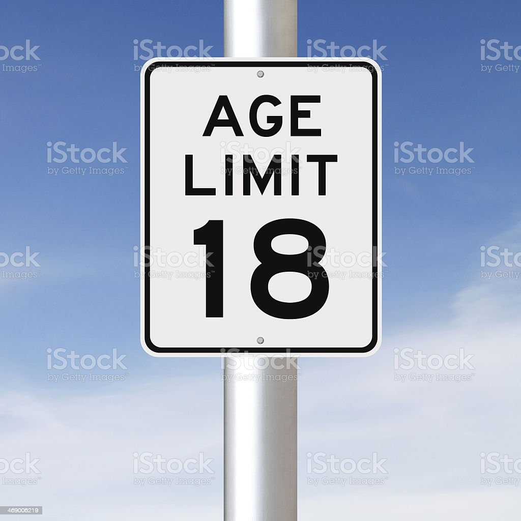 Age Limit at 18 stock photo