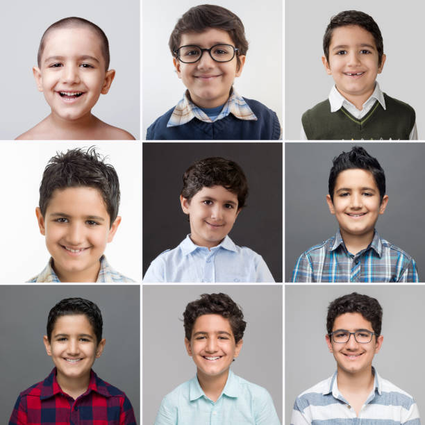 Age progression sequence of a young boy stock photo