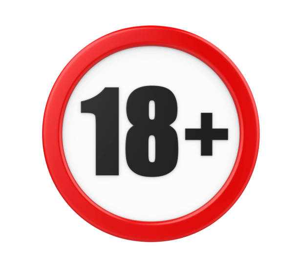 18+ age restriction sign isolated - number 18 stock photos and pictures