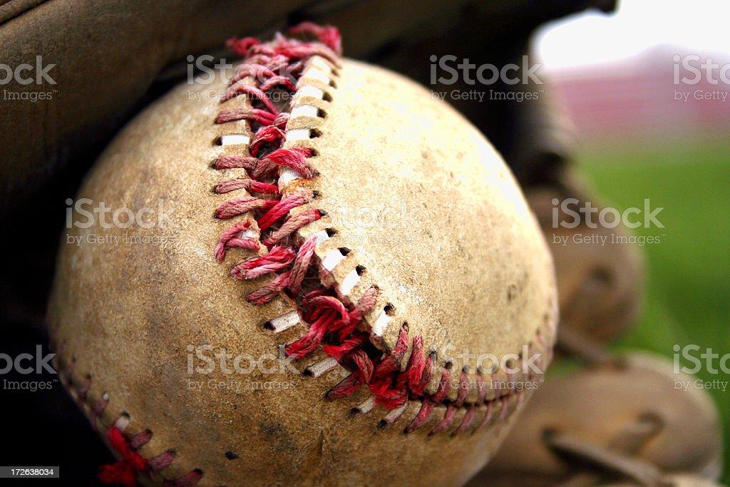 Aged Baseball & Glove royalty-free stock photo