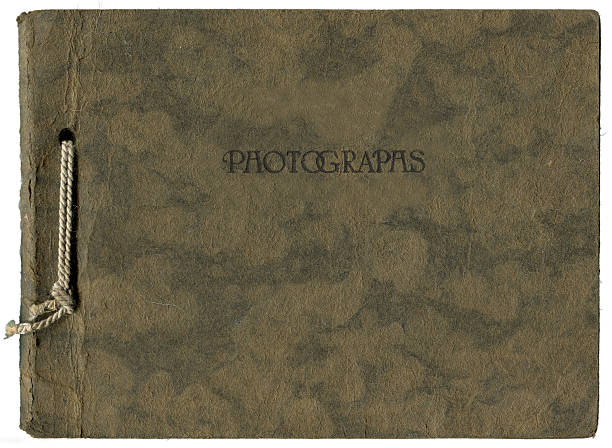 Aged brown photo album bonded with string stock photo