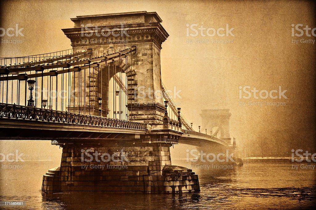 Aged Chain bridge, Budapest stock photo