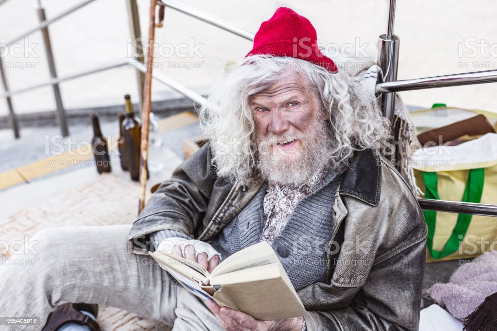 Aged cheerful man smiling to you royalty-free stock photo