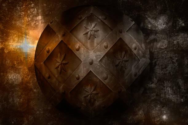 Alter Kreis mittelalterliches Schild über dunklen Burgsteinmauer – Foto