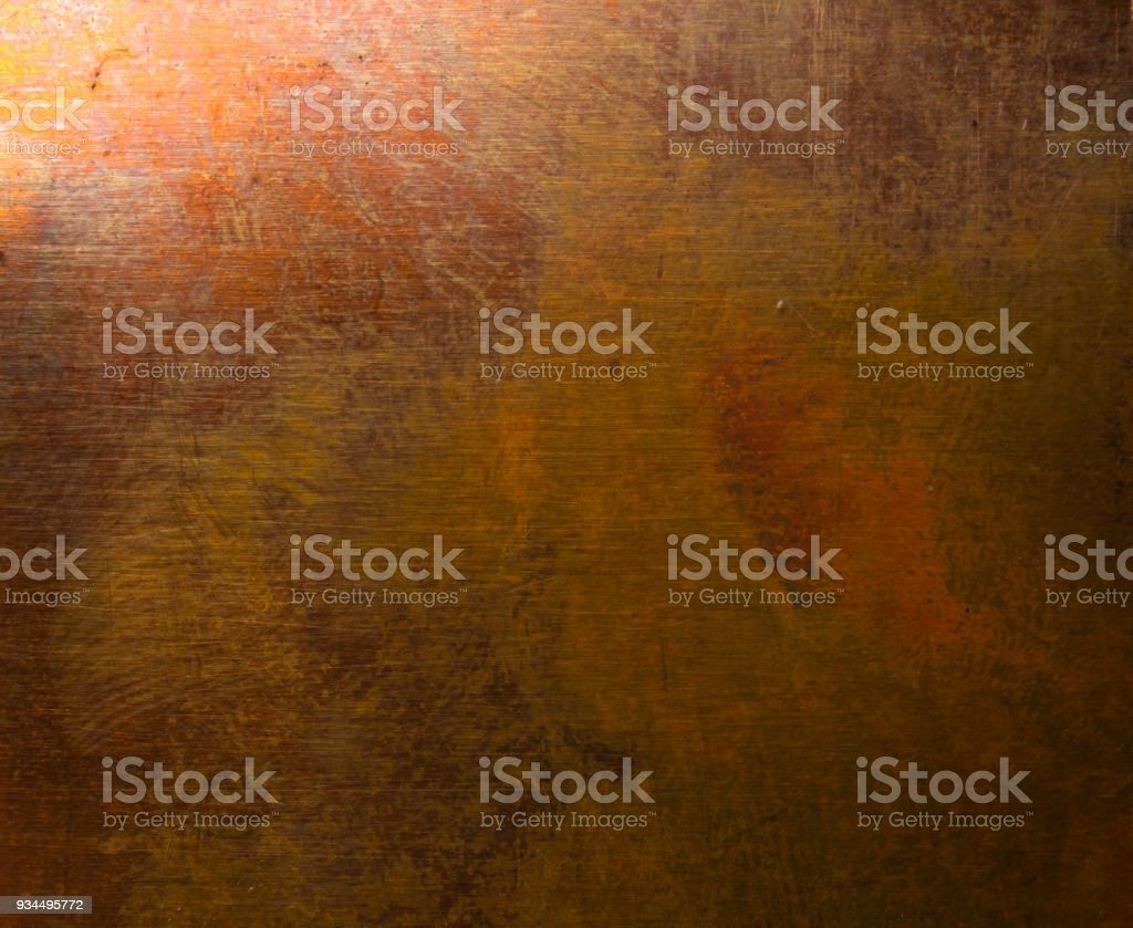 Aged copper plate texture, old worn metal background. stock photo