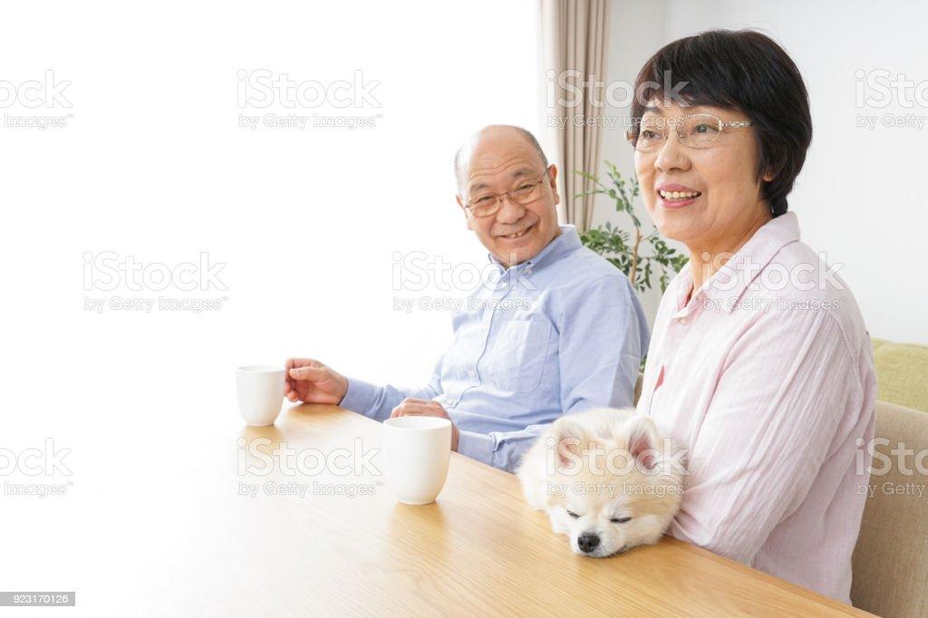 Aged couple enjoying their slow life