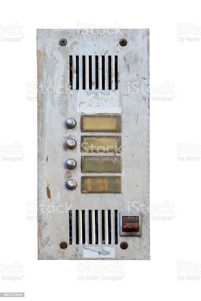 aged doorbells isolated on white stock photo